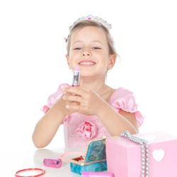 Funny little girl with a pink  lipstick and accessories over white