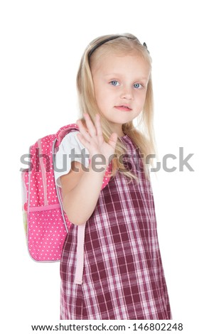 Funny little schoolgirl with pink backpack over white - stock photo