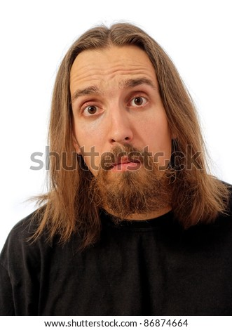 funny long haired man with silly face