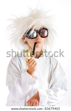 funny looking child scientist with crazy hair, hypnotic glasses and smoking a pipe.