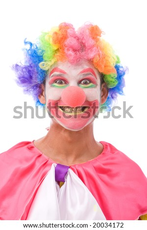 funny looking clorful clown making faces on white background - stock ...