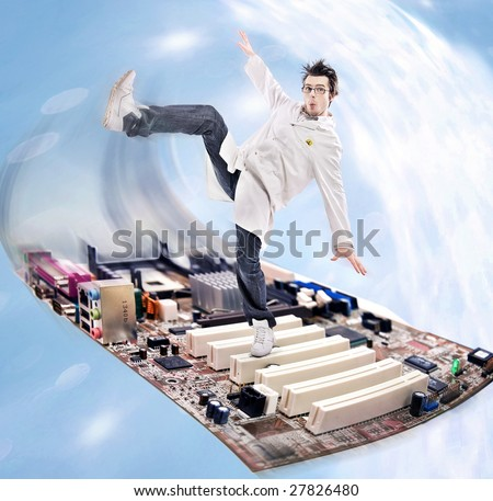 Funny looking madman scientist on a motherboard