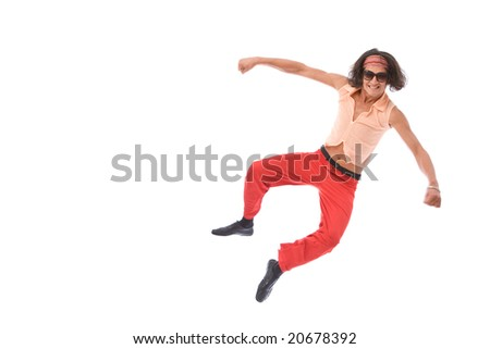 funny looking retro style man dancing on white background