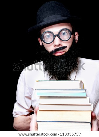 Funny Looking University Lecturer Holding A Stack Of Library Textbooks In A Humorous Depiction Of Higher Eduction On Black Background