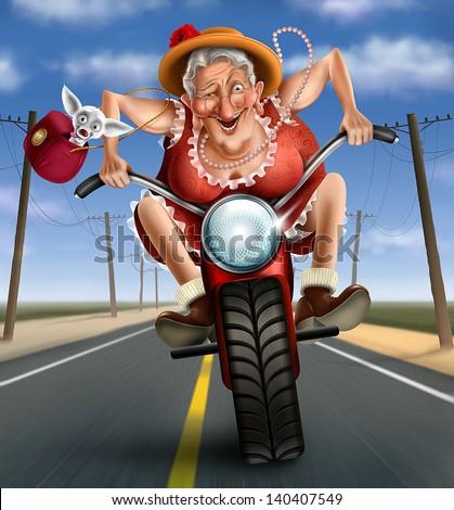 Funny Mad Granny On A Bike Stock Photo 140407549