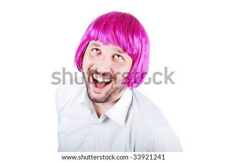 Funny male model with periwig on head