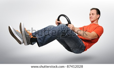 Funny man car driver with a wheel, auto concept