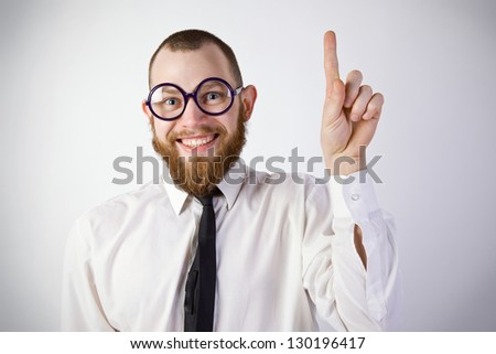 funny man in glasses has an idea
