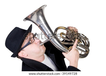 Funny man playing a horn (isolated on white)
