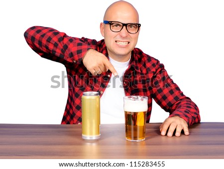 Funny man pointing on the beer