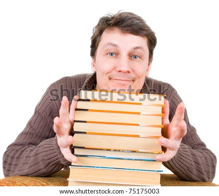 Funny man with books