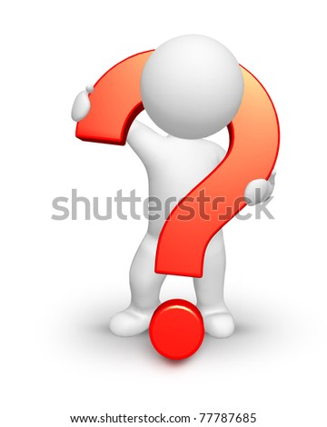 Funny man with heavy question mark isolated on white stock photo