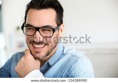 Funny mature man with beautiful smile - Shutterstock ID 134388980