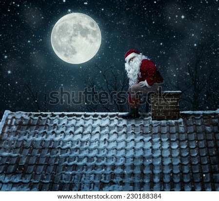Funny, mean santa claus using chimney as a toilet