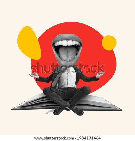 Funny meditation. Young manager or clerk dreaming at office isolated on light background. Contemporary art collage. Inspiration, idea, trendy. Concept of professional occupation, business, ad.