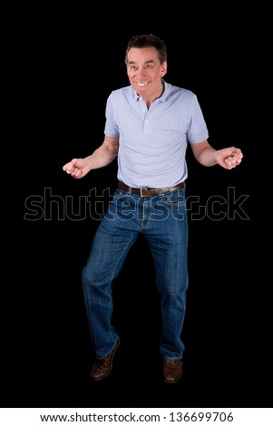 Funny Middle Age Man doing Silly Dance Black Background