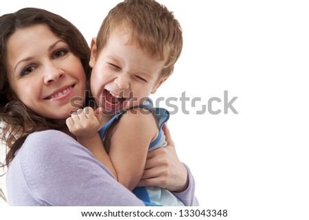 Funny mom and son smiling