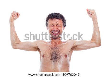 Funny nerd man showing muscles, isolated on white background.