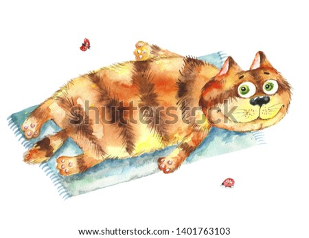 Funny orange cat lies on the beach. Bright watercolor illustration
