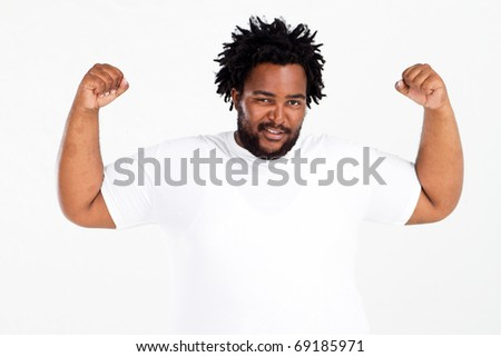funny overweight african american man on white