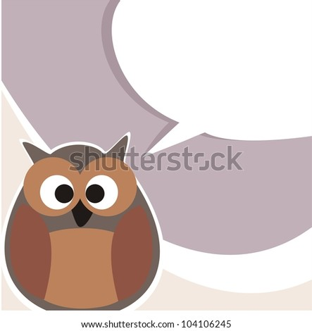 Funny owl talking, giving instructions. Hand drawn symbol of wisdom enlightening people. Illustration with white space to put your own text message