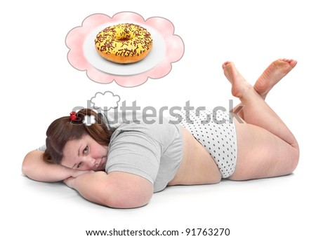 Funny picture of a hungry overweight woman resting on a white background. Health care concept.