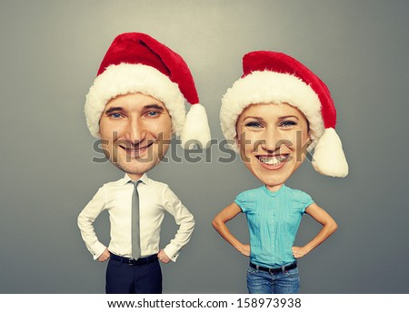 Funny Picture Of Christmas Couple Over Grey Background 158973938
