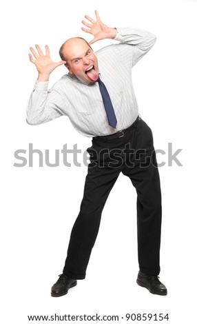Funny picture of crazy businessman.