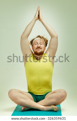 Funny Picture Of Red Haired Bearded Plump Man On White Background Wearing