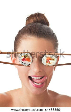 Funny picture of woman holding sushi rolls on her eyes. Isolated on white background.