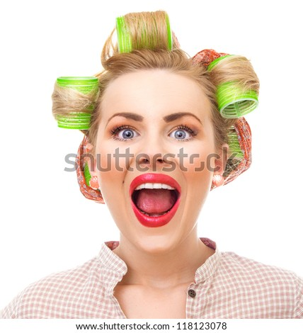 Funny pin-up girl screaming, close-up portrait isolated on white. Old / retro style portrait - shakeup / alarm