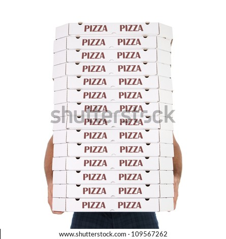 Funny pizza delivery boy with many pizza boxes isolated on white background