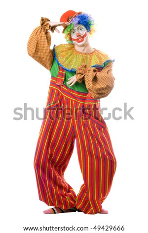 Funny playful clown. Isolated on white background