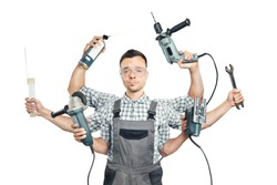 Funny portrait of a craftsman with six arms and tools