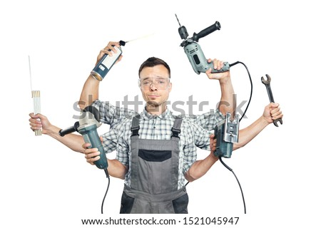 Funny portrait of a craftsman with six arms and tools Stock photo ©