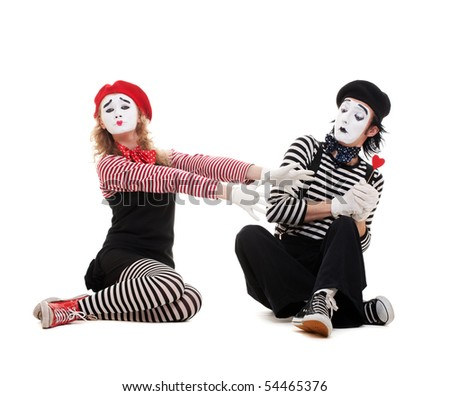 funny portrait of mimes. isolated on white background