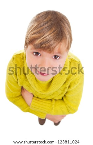 Funny portrait of young girl looking up to the camera