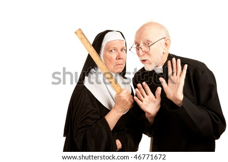 Funny priest admonishes mean nun not to use ruler as a weapon