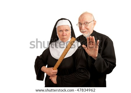 Funny priest and nun with ruler on white background