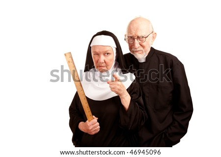 Funny priest with mean nun holding ruler