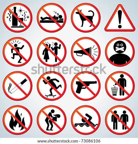 Funny Prohibited and Alerting Signs, Icons collection - stock photo