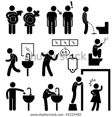 Funny Public Toilet Concept Icon Symbol Sign Pictogram