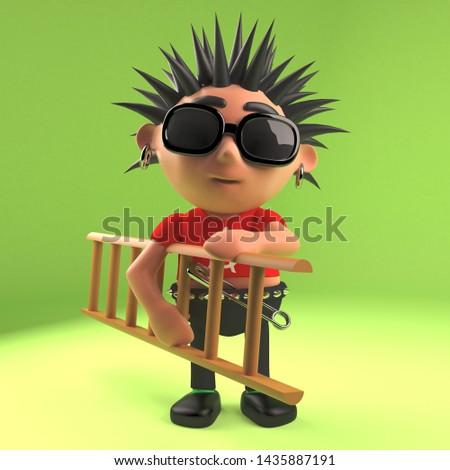 Funny punk rock dude carrying a ladder, 3d illustration render