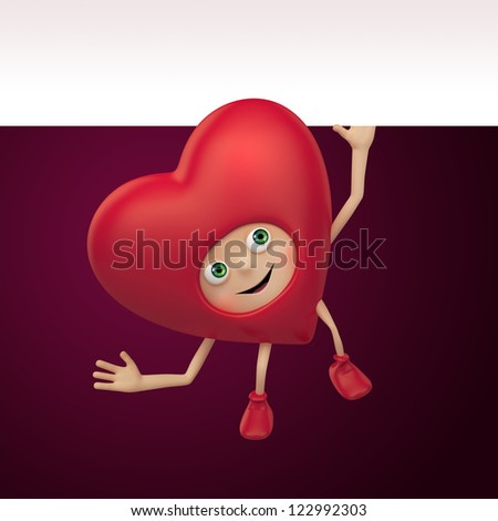 funny red heart cartoon. Valentine day greeting banner. Three dimensional character render