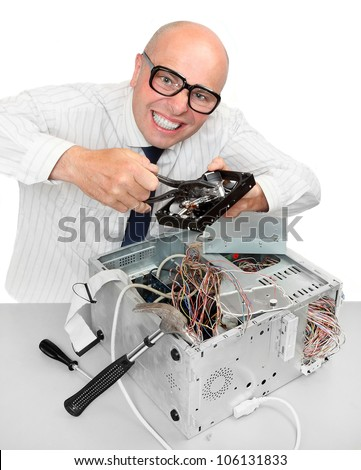 Funny repairman with computer. Under construction concept.