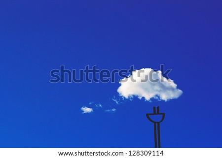 funny representation of cloud computing, cloud and sketched plug