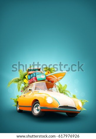 funny retro car with surfboard  ...