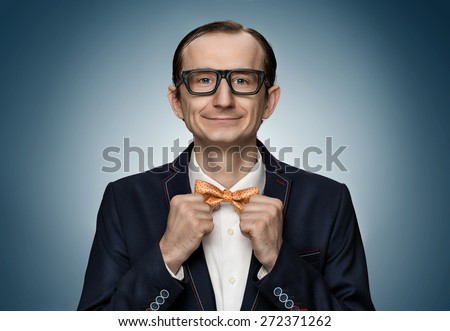 Funny retro nerd preparing for a date