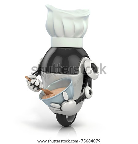 funny robot - cook with the chef's hat making the dessert - 3d illustration isolated on the white background