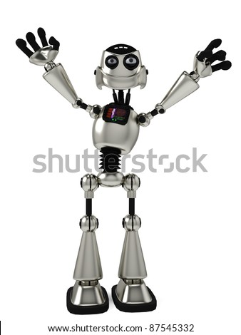 funny robot hands up
